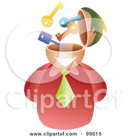 Royalty-Free (RF) Clipart Illustration of a Businessman With A Key Brain by Prawny
