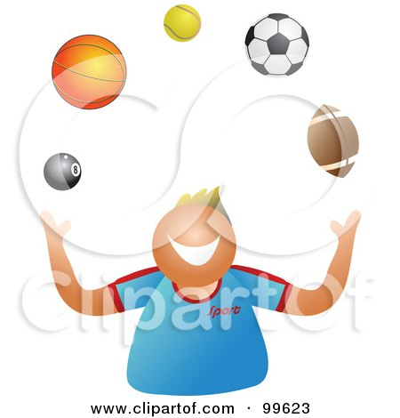 Royalty-Free (RF) Clipart Illustration of a Happy Boy Juggling Sport Balls by Prawny