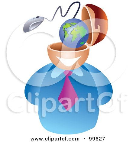 Royalty-Free (RF) Clipart Illustration of a Businessman With An Internet Brain by Prawny
