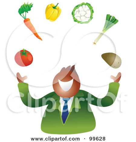 Royalty-Free (RF) Clipart Illustration of a Businessman Juggling Vegetables by Prawny