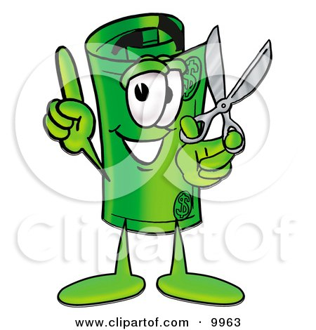 Clipart Picture of a Rolled Money Mascot Cartoon Character Holding a Pair of Scissors by Toons4Biz