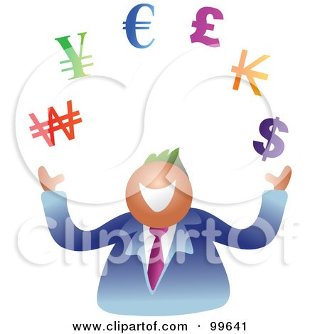 Royalty-Free (RF) Clipart Illustration of a Business Man Juggling Currency Symbols by Prawny