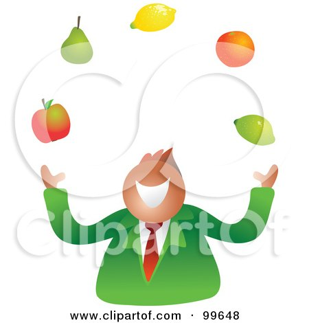 Royalty-Free (RF) Clipart Illustration of a Businessman Juggling Fruit by Prawny