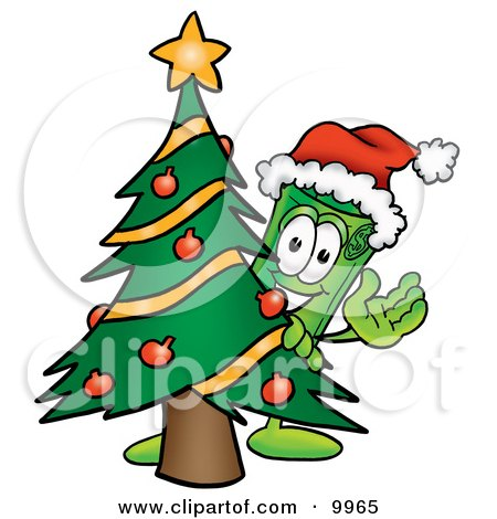Clipart Picture of a Rolled Money Mascot Cartoon Character Waving and Standing by a Decorated Christmas Tree by Toons4Biz