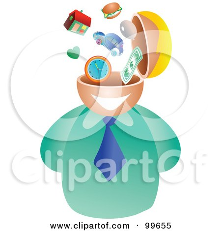 Royalty-Free (RF) Clipart Illustration of a Businessman With A Lifestyle Brain by Prawny