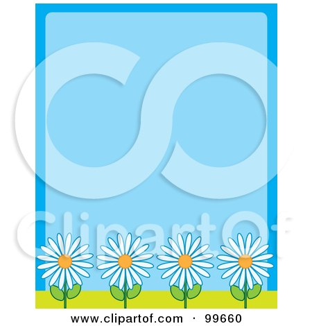 Royalty-Free (RF) Clipart Illustration of a Blue Background With Four White Daisy Flowers Along The Bottom by Maria Bell