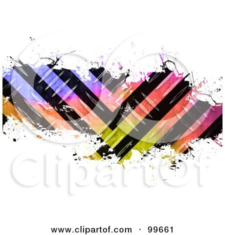 Royalty-Free (RF) Clipart Illustration of a Bar Of Colorful Hazard Stripes And Splatters Over White. by Arena Creative
