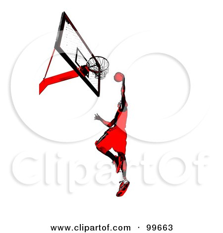 Royalty-Free (RF) Clipart Illustration of a Red And Black Man Leaping To Slam Dunk A Basketball by Arena Creative