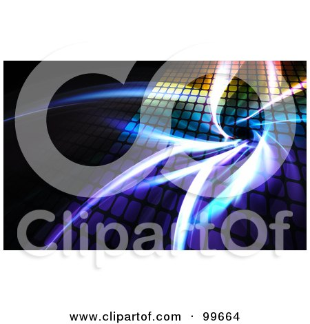 Royalty-Free (RF) Clipart Illustration of a Colorful Grid With Fractals Glowing Over Black by Arena Creative