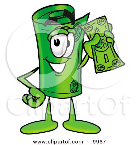Clipart Picture of a Rolled Money Mascot Cartoon Character Holding a Dollar Bill by Toons4Biz