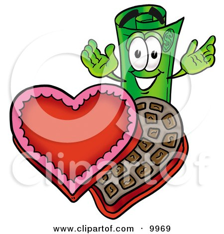 Clipart Picture of a Rolled Money Mascot Cartoon Character With an Open Box of Valentines Day Chocolate Candies by Toons4Biz
