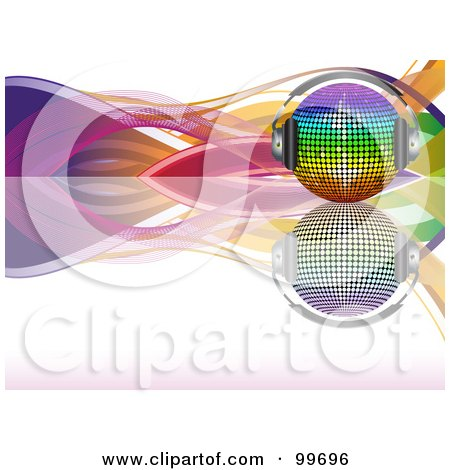 Rainbow Disco Ball With Headphones, On A Reflective Surface With Colorful Waves Over White Posters, Art Prints