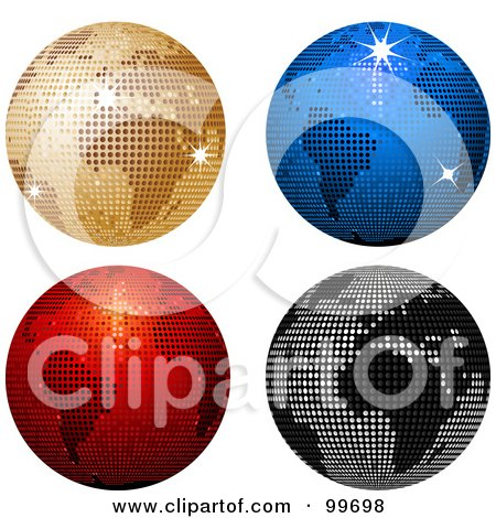 Royalty-Free (RF) Clipart Illustration of a Digital Collage Of Four Sparkly Colorful Disco Ball Globes by elaineitalia