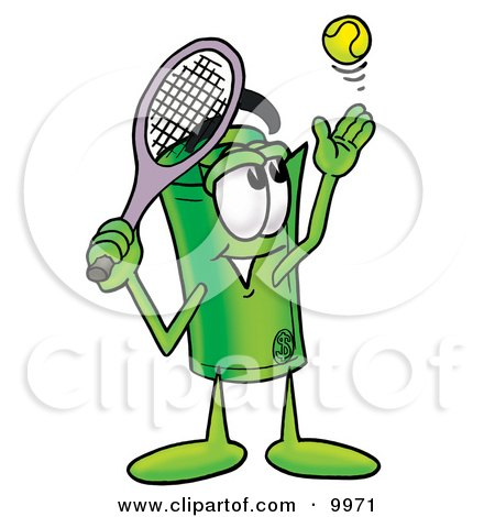 Clipart Picture of a Rolled Money Mascot Cartoon Character Preparing to Hit a Tennis Ball by Toons4Biz