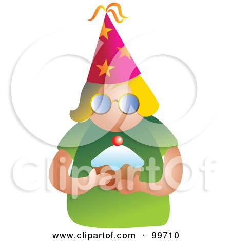 Royalty-Free (RF) Clipart Illustration of a Party Woman Holding A Cupcake by Prawny