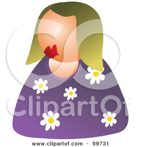Royalty-Free (RF) Clipart Illustration of a Woman In A Floral Shirt Avatar by Prawny