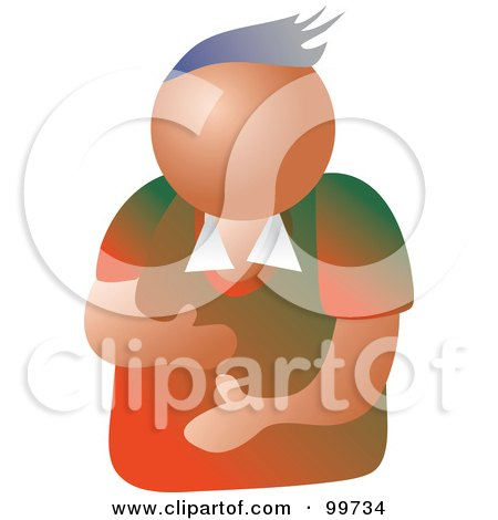 Royalty-Free (RF) Clipart Illustration of a Gesturing Man Avatar by Prawny