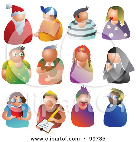 Royalty-Free (RF) Clipart Illustration of a Digital Collage Of 12 People Avatars by Prawny