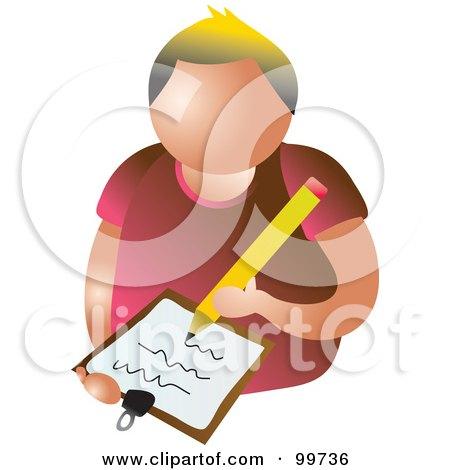 Royalty-Free (RF) Clipart Illustration of a Writing Man Avatar by Prawny