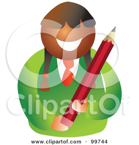 Royalty-Free (RF) Clipart Illustration of a Happy School Girl Holding A Pencil by Prawny