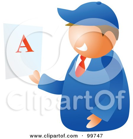 Royalty-Free (RF) Clipart Illustration of a Happy School Boy Holding A Report Card With An A by Prawny