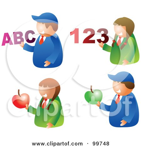 Royalty-Free (RF) Clipart Illustration of a Digital Collage Of School Boys And Girls Holding Apples, Letters And Numbers by Prawny