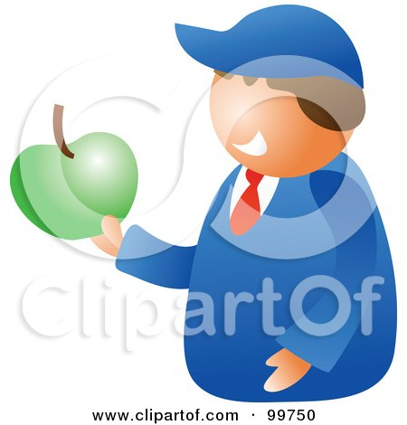 Royalty-Free (RF) Clipart Illustration of a Happy School Boy Holding An Apple by Prawny
