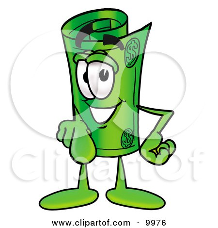 Clipart Picture of a Rolled Money Mascot Cartoon Character Pointing at the Viewer by Toons4Biz