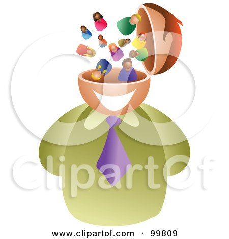Royalty-Free (RF) Clipart Illustration of a Businessman With A People Brain by Prawny