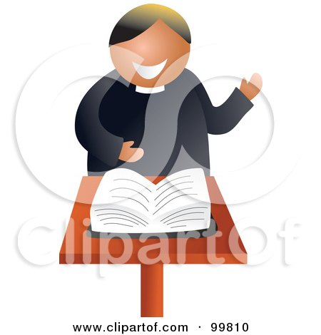 Royalty-Free (RF) Clipart Illustration of a Friendly Preacher Standing Before The Bible by Prawny