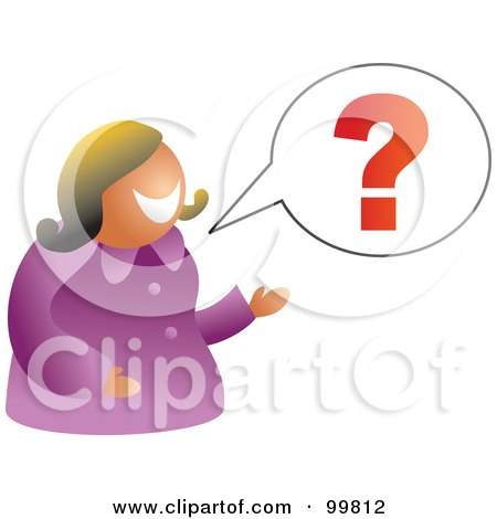 Royalty-Free (RF) Clipart Illustration of a Businesswoman Talking With A Question Mark by Prawny