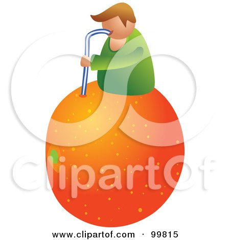 Royalty-Free (RF) Clipart Illustration of a Man On Top Of A Giant Orange And Drinking The Juice With A Straw by Prawny