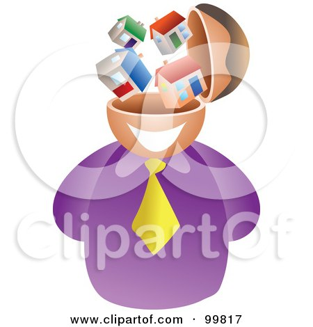 Royalty-Free (RF) Clipart Illustration of a Businessman With A House Brain by Prawny