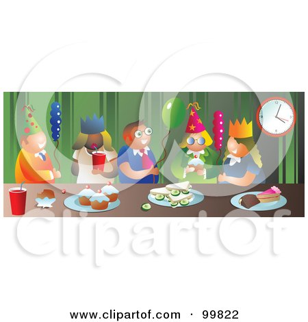 Royalty-Free (RF) Clipart Illustration of a Group Of Party People With Snacks And Balloons by Prawny