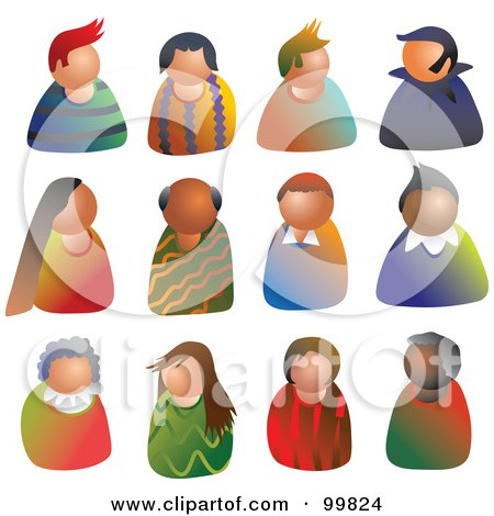 Royalty-Free (RF) Clipart Illustration of a Digital Collage Of People Avatars by Prawny