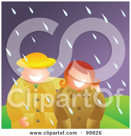 Royalty-Free (RF) Clipart Illustration of a Happy Couple Standing In The Rain by Prawny