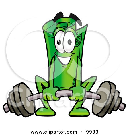 Clipart Picture of a Rolled Money Mascot Cartoon Character Lifting a Heavy Barbell by Toons4Biz