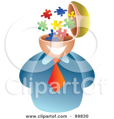 Royalty-Free (RF) Clipart Illustration of a Businessman With A Puzzle Brain by Prawny