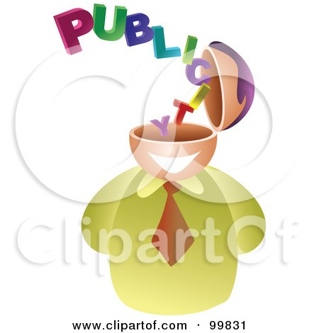 Royalty-Free (RF) Clipart Illustration of a Businessman With A Publicity Brain by Prawny