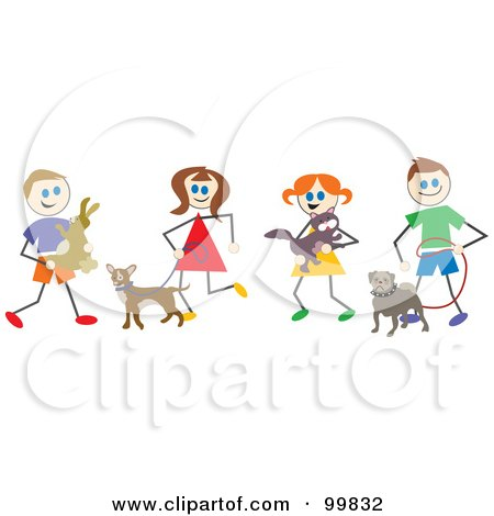 Royalty-Free (RF) Clipart Illustration of Stick Children With Pets by Prawny