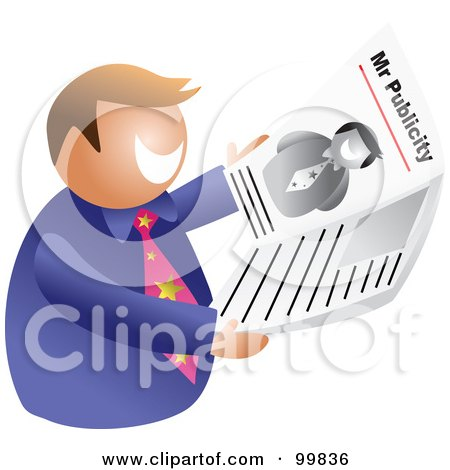 Royalty-Free (RF) Clipart Illustration of a Man, Mr Publicity, Holding A Newspaper by Prawny