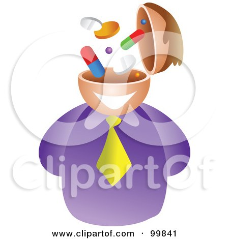 Royalty-Free (RF) Clipart Illustration of a Businessman With A Pill Brain by Prawny