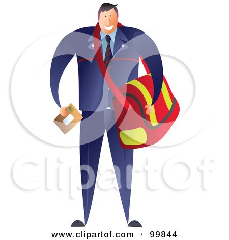 Royalty-Free (RF) Clipart Illustration of a Male Postman Carrying A Mail Bag by Prawny