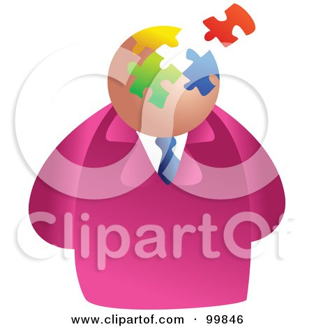 Royalty-Free (RF) Clipart Illustration of a Businessman With A Puzzle Face by Prawny