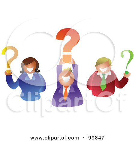 Royalty-Free (RF) Clipart Illustration of a Business Team Holding Question Marks by Prawny