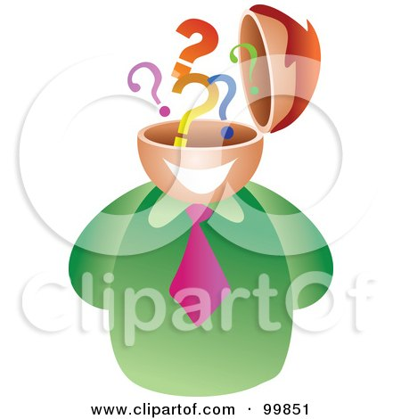 Royalty-Free (RF) Clipart Illustration of a Businessman With A Question Mark Brain by Prawny