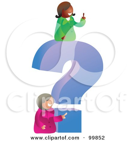 Royalty-Free (RF) Clipart Illustration of Two Businesswomen With A Giant Question Mark by Prawny