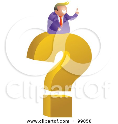 Royalty-Free (RF) Clipart Illustration of a Businessman On A Giant Question Mark by Prawny