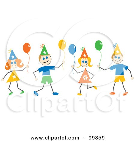Royalty-Free (RF) Clipart Illustration of Stick Children With Party Hats And Balloons by Prawny