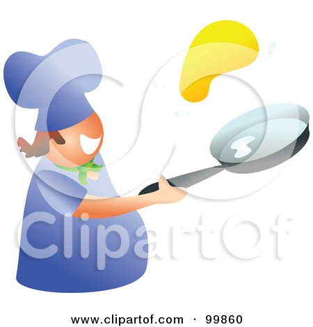 Royalty-Free (RF) Clipart Illustration of a Happy Man Flipping A Pancake by Prawny